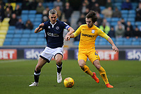 Millwall's Steve Morison and Ben Pearson of Preston North End challenge for the ball during Millwall vs Preston North End, Sky Bet EFL Championship Football at The Den on 13th January 2018