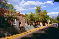 Canyon Road; well-known as an artists colony with many studios and galleries. Santa Fe, New Mexico.