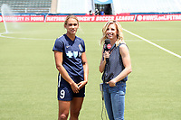 Cary, North Carolina  - Saturday June 03, 2017: Lynn Williams is interviewed by Lifetime's Aly Wagner prior to a regular season National Women's Soccer League (NWSL) match between the North Carolina Courage and the FC Kansas City at Sahlen's Stadium at WakeMed Soccer Park. The Courage won the game 2-0.