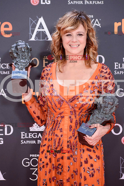 Emma Suarez pose to the media with the Goya award at Madrid Marriott Auditorium Hotel in Madrid, Spain. February 04, 2017. (ALTERPHOTOS/BorjaB.Hojas) /NORTEPHOTO.COM