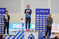 SPEEDSKATING: SALT LAKE CITY: 09-12-2017, Utah Olympic Oval, ISU World Cup, Podium Mass Start Ladies, Dan Guo (CHN), Francesca Lollobrigida (ITA), Bo-Reum Kim (KOR), ©photo Martin de Jong