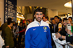 New York Cosmos players Andrés Flores, Raúl Gonzalez, Marcos Senna, Carlos Mendes and Mads Stokkelien attend autograph session at APM Kwon Tong mall on 16 February 2015 in Hong Kong, China. Photo by Xaume OIleros / Power Sport Image
