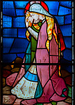 Victorian 19th century stained glass window, church of Bradfield Combust, Suffolk, England, UK
