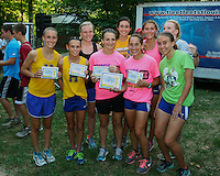 The Francis Howell Lady Vikings pose with their 1st place team trophy after dominating the Fleet Feet Cross Country Kickoff Varsity Girls 2 mile race at Wentzville's Quail Ridge Park.