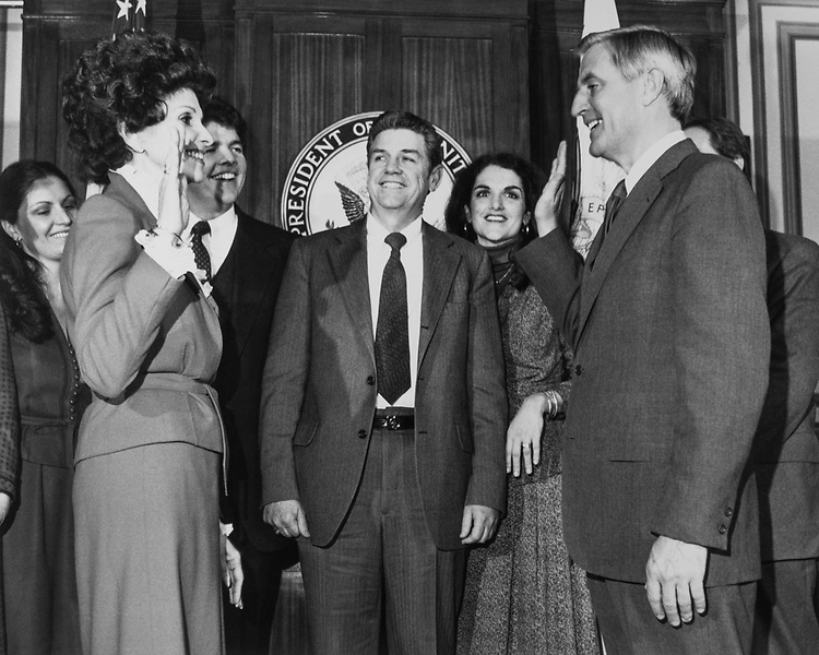 Sen. Paula Hawkins, R-Fla. taking oath in front of party members. 1981 (Photo by CQ Roll Call)