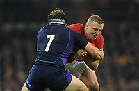 Wales' Hadleigh Parkes is tackled by Scotland's Hamish Watson<br /> <br /> Photographer Ian Cook/CameraSport<br /> <br /> Under Armour Series Autumn Internationals - Wales v Scotland - Saturday 3rd November 2018 - Principality Stadium - Cardiff<br /> <br /> World Copyright &copy; 2018 CameraSport. All rights reserved. 43 Linden Ave. Countesthorpe. Leicester. England. LE8 5PG - Tel: +44 (0) 116 277 4147 - admin@camerasport.com - www.camerasport.com