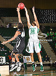North Texas Mean Green guard Desiree Nelson (32) and Troy Trojans guard Jamesha Blake (40) in action during the game between the Troy Trojans and the University of North Texas Mean Green at the North Texas Coliseum,the Super Pit, in Denton, Texas. UNT defeats Troy 57 to 36.....