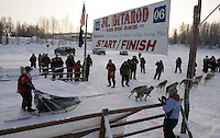 Sunday February 26, 2006 Willow, Alaska.   First place finisher Michael Degerland crosses the finish line to win the 2006 Junior Iditarod sled dog race.