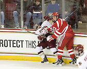 Pat Mullane (BC - 11), Charlie Coyle (BU - 3) - The Boston College Eagles defeated the visiting Boston University Terriers 5-2 on Saturday, December 4, 2010, at Conte Forum in Chestnut Hill, Massachusetts.
