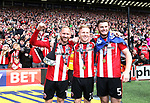 Sheffield United's Matt Done, Mark Duffy and Jack O'Connell celebrate during the League One match at Bramall Lane, Sheffield. Picture date: April 30th, 2017. Pic David Klein/Sportimage
