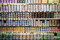 Containers of various brands of yogurt in a supermarket cooler in New York on Saturday, August 13, 2016. (© Richard B. Levine)