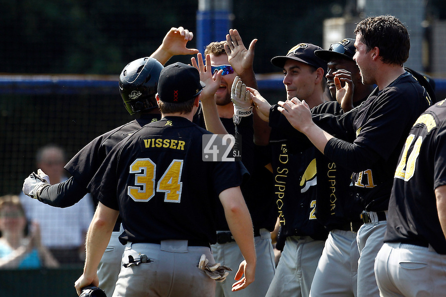 03 September 2011: Team L&D Amsterdam Pirates celebrates during game 1 of the 2011 Holland Series won 5-4 in inning number 14 by L&D Amsterdam Pirates over Vaessen Pioniers, in Hoofddorp, Netherlands.