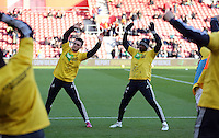 Pictured L-R: Matt Grimes and Dwight Tiendalli of Swansea Sunday 01 February 2015<br /> Re: Premier League Southampton v Swansea City FC at ST Mary's Ground, Southampton, UK.