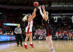SIOUX FALLS, SD - MARCH 7: Madison McKeever #23 of the South Dakota Coyotes shoots a three point basket against the Omaha Mavericks at the 2020 Summit League Basketball Championship in Sioux Falls, SD. (Photo by Dave Eggen/Inertia)
