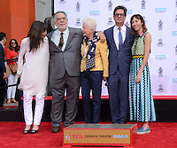 Francis Ford Coppola + wife Eleanor + son Roman Coppola + sister Talia Shire + grand-daughter Gia Coppola @ his Hand & Foot Print ceremony held @the TCL Chinese theatre.<br /> April 29, 2016