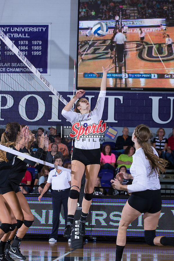 Gabi Mirand (8) of the High Point Panthers attacks the ball during the match against the Wake Forest Demon Deacons at the Panther Invitational at the Millis Athletic Center on September 12, 2015 in High Point, North Carolina.  The Demon Deacons defeated the Panthers 3-1.   (Brian Westerholt/Sports On Film)