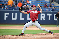 Chris Castellanos #39 of the Stanford Cardinal pitches against the Cal State Fullerton Titans at Goodwin Field on February 19, 2017 in Fullerton, California. Stanford defeated Cal State Fullerton, 8-7. (Larry Goren/Four Seam Images)