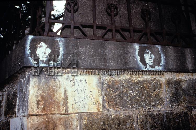 Jim Morison's grave site in Paris pictured on August 18, 1998.