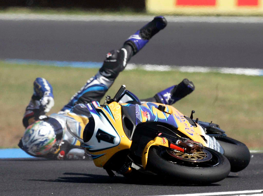 World Superbike championships at Phillip Island. Troy Corser, winner of the first race, comes to grief in the second.