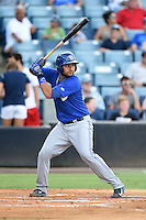 Dunedin Blue Jays catcher Santiago Nessy (43) at bat during a game against the Tampa Yankees on June 28, 2014 at George M. Steinbrenner Field in Tampa, Florida.  Tampa defeated Dunedin 5-2.  (Mike Janes/Four Seam Images)
