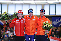 SCHAATSEN: BERLIJN: Sportforum Berlin, 05-03-2016, WK Allround, Podium 5000m Men, Sverre Lunde Pedersen (NOR), Sven Kramer (NED), Jan Blokhuijsen (NED), ©foto Martin de Jong