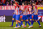 Atletico de Madrid's player Saúl Ñígez, Antoine Griezmann, Filipe Luis, /at16& and Yannick Carrasco celebrating a goal during a match of UEFA Champions League at Vicente Calderon Stadium in Madrid. November 01, Spain. 2016. (ALTERPHOTOS/BorjaB.Hojas)