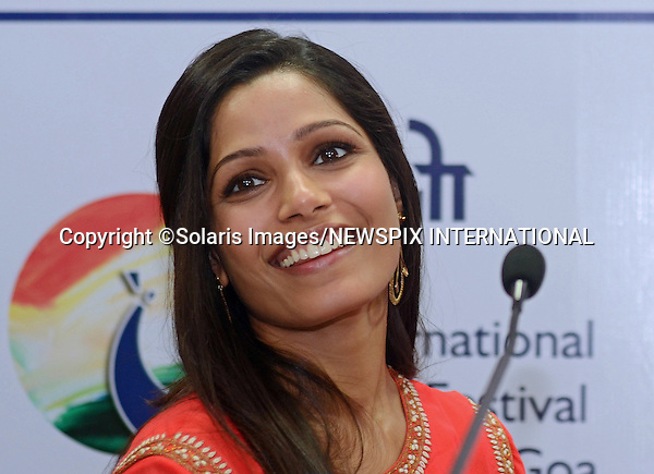 "FREIDA PINTO.promotes ""Trishna"" at the 42nd International Film Festival of India (IFFI-2011), at Old GMC, in Panaji, Goa_25.11.2011.Pinto plays the lover Trishna, of a British businessman.The film directed by Michael Winterbottom, is an adaptation of Thomas Hardy's novel Tess of the d'Urbervilles..Mandatory Photo Credit: ©Pawar Solaris/Newspix International..**ALL FEES PAYABLE TO: ""NEWSPIX INTERNATIONAL""**..PHOTO CREDIT MANDATORY!!: NEWSPIX INTERNATIONAL(Failure to credit will incur a surcharge of 100% of reproduction fees)..IMMEDIATE CONFIRMATION OF USAGE REQUIRED:.Newspix International, 31 Chinnery Hill, Bishop's Stortford, ENGLAND CM23 3PS.Tel:+441279 324672  ; Fax: +441279656877.Mobile:  0777568 1153.e-mail: info@newspixinternational.co.uk"