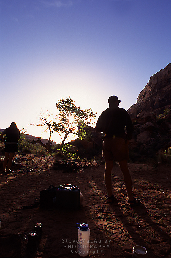 Morning camping scene, Green River, Canyonlands National Park, Utah