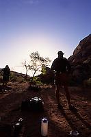 Morning camping scene, Green River, Canyonlands National Park, Utah