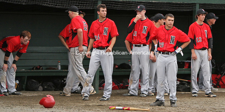 Middletown, CT-060813MK02 Northwestern's bench reacts after losing the Class M state tournament finals at Palmer Field in Middletown on Saturday afternoon.  The Saint Joseph Cadets defeated The Northwestern Highlanders for the title 2-1. Please get action and reaction shots.. Michael Kabelka / Republican-American