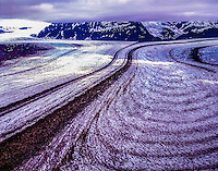 Tidewater Glacier, Glacier Bay Park and Preserve, Alaska Glacier Bay Wilderness, Pacific Ocean, Fairweather Range. evening, aerial view, July