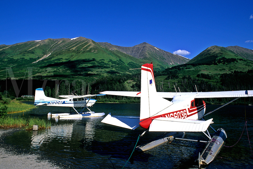 Seaplanes at Summit Lake Lodge Near Seward Alaska USA