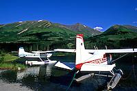 Seaplanes at Summit Lake Lodge Near Seward Alaska USA