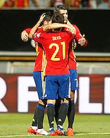 Spain's Nolito, Alvaro Morata and David Silva celebrate goal during FIFA World Cup 2018 Qualifying Round match. September 5,2016.(ALTERPHOTOS/Acero)