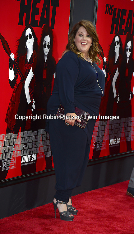 "Melissa McCarthy attends the New York Premiere of ""The Heat"" on June 23,2013 at the Ziegfeld Theatre in New York City. The movie stars Sandra Bullock, Melissa McCarthy, Demian Bichir, Marlon Wayans, Joey McIntyre, Jessica Chaffin, Jamie Denbo, Nate Corddry, Steve Bannos, Spoken Reasons and Adam Ray."