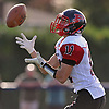 Joe Yarusso #11 of Plainedge fields a kickoff during a Nassau County Conference III varsity football game against host Bethpage High School on Saturday, Oct. 21, 2017.