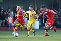 Fleetwood Town's Jason Holt in action with Alfreton Town's Nathan Hotte and Josh Wilde<br /> <br /> Photographer Rachel Holborn/CameraSport<br /> <br /> Emirates FA Cup First Round - Alfreton Town v Fleetwood Town - Sunday 11th November 2018 - North Street - Alfreton<br />  <br /> World Copyright &copy; 2018 CameraSport. All rights reserved. 43 Linden Ave. Countesthorpe. Leicester. England. LE8 5PG - Tel: +44 (0) 116 277 4147 - admin@camerasport.com - www.camerasport.com