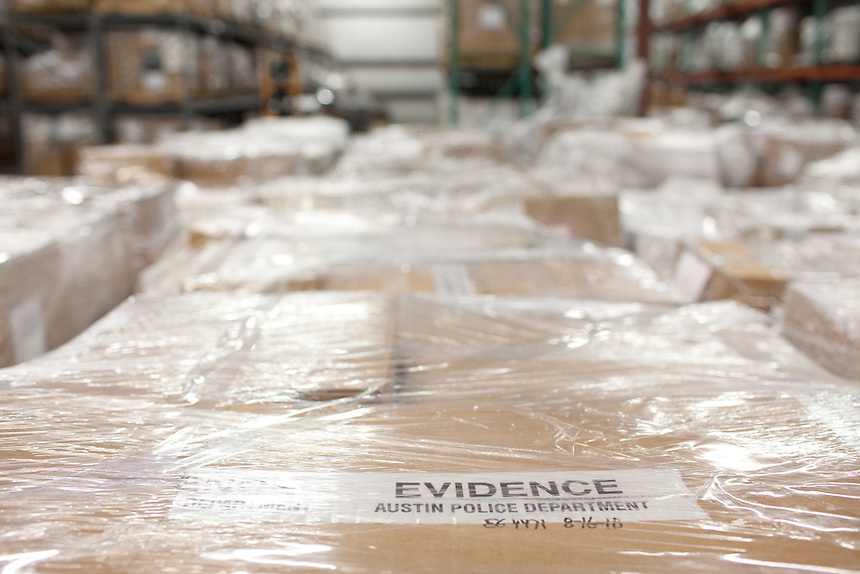 Evidence is kept in climate controlled storage by the Austin Police Department in Austin, Texas.