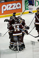 Jun 7, 2007; Hamilton, ON, CAN; Hershey Bears left winger (14) Tomas Fleischmann and teammates celebrate with right winger (15) Jakub Klepis on his second period goal against the Hamilton Bulldogs in game five of the Calder Cup finals at Copps Coliseum in Hamilton, ON. Mandatory Credit: Ron Scheffler