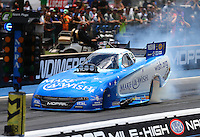 Jul 24, 2016; Morrison, CO, USA; NHRA funny car driver Tommy Johnson Jr during the Mile High Nationals at Bandimere Speedway. Mandatory Credit: Mark J. Rebilas-USA TODAY Sports