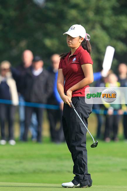 Andrea Lee (USA) on the 3rd green during Monday's Morning Foursomes Match 2 of the 2014 JUNIOR RYDER CUP at the Blairgowrie Golf Club, Perthshire, Scotland. <br /> Picture:  Thos Caffrey / www.golffile.ie