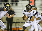 Torrance, CA 09/19/15 - Marcello Merola (Peninsula #8) and Daniel Schubert (Peninsula #18) in action during the Peninsula Panthers - Torrance Tartars Varsity football game at Torrance High School