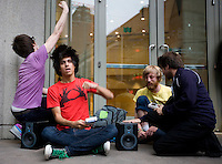 Photo by Stephen Brashear.Jack Waterman, second from left, and Paul Owens, far left, perform ChipTunes with their Nintendo Gameboys on the first day of the Penny Arcade Exposition at the Washington State Visitor and Convention Center in Seattle, Wash., Friday Aug. 29, 2008.