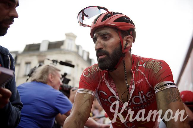 a dusty Geoffrey Soupe (FRA/Cofidis) post-race<br /> <br /> stage 4: Seraing (BEL) - Cambrai (FR) <br /> 2015 Tour de France