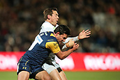29th September 2017, Sixways Stadium, Worcester, England; Aviva Premiership Rugby, Worcester Warriors versus Saracens; Alex Goode of Saracensrelease the ball just before impact