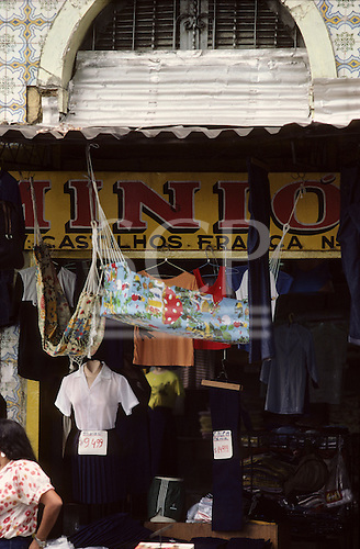 Belem, Amazon, Brazil. Shop selling clothes, hammocks and baby hammock; Ver-O-Peso market.