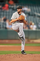 Fresno Grizzlies starting pitcher Kent Emanuel (35) delivers a pitch to the plate against the Salt Lake Bees  at Smith's Ballpark on September 3, 2017 in Salt Lake City, Utah. The Bees defeated the Grizzlies 10-8. (Stephen Smith/Four Seam Images)
