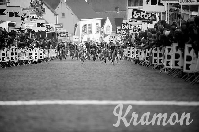 Nokere Koerse 2012.Francesco Chicchi rushing to the finish line