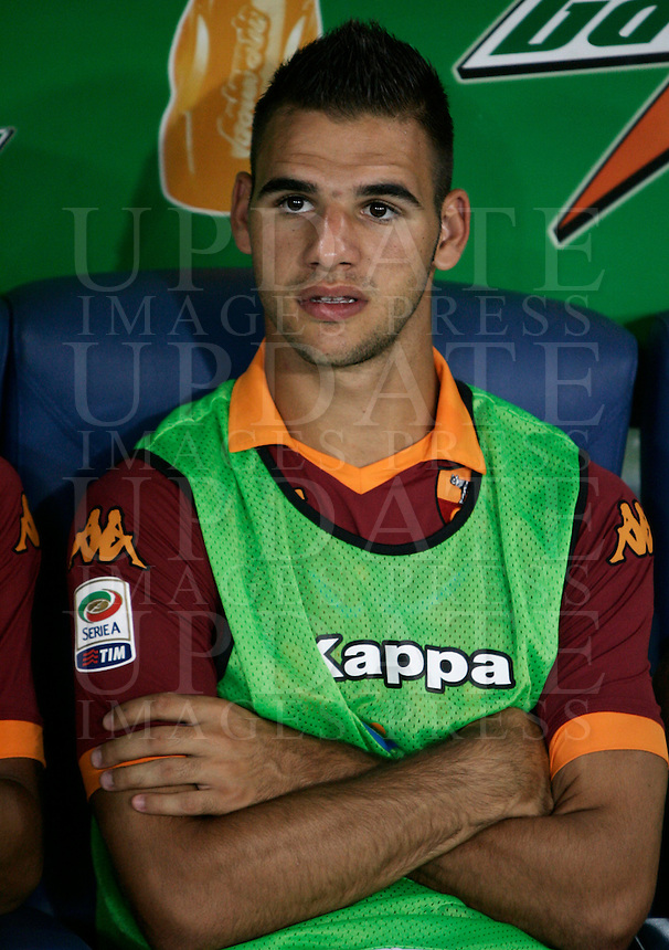 Calcio, Serie A: Roma-Catania. Roma, stadio Olimpico, 26 agosto 2012..AS Roma midfielder Panagiotis Tachtsidis, of Greece, sits on the bench during the Italian Serie A football match between AS Roma and Catania, at Rome, Olympic stadium, 26 August 2012. .UPDATE IMAGES PRESS/Riccardo De Luca