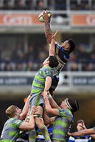 Levi Douglas of Bath Rugby wins the ball at a lineout. Anglo-Welsh Cup match, between Bath Rugby and Newcastle Falcons on January 27, 2018 at the Recreation Ground in Bath, England. Photo by: Patrick Khachfe / Onside Images